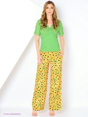 Костюм (блуза+брюки) ADZHEDO. Цвет: зеленый, оранжевый