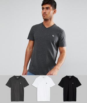 Abercrombie & Fitch 3 футболки узкого кроя с V-образным вырезом (черный/белый/серый) Aberc. Цвет: мульти