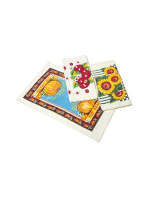 Комплект полотенец Ассорти La Pastel. Цвет: бежевый, синий