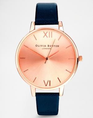 Olivia Burton Часы с большим циферблатом и темно-синим ремешком. Цвет: темно-синий