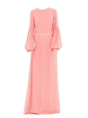 Платье вечернее двойное из шифона коралловое Bella kareema