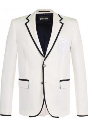 Однобортный пиджак с контрастной отделкой Just Cavalli. Цвет: белый