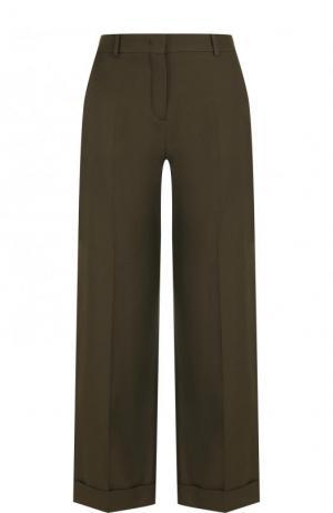 Укороченные хлопковые брюки со стрелками Loro Piana. Цвет: хаки