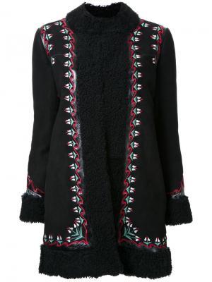 Пальто с вышивкой цветочным узором Vilshenko. Цвет: чёрный