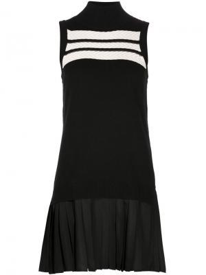 Трикотажное платье с плиссированным подолом Timo Weiland. Цвет: чёрный