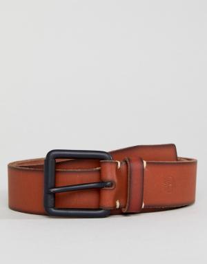 Timberland Светло-коричневый кожаный ремень с небольшим логотипом. Цвет: рыжий