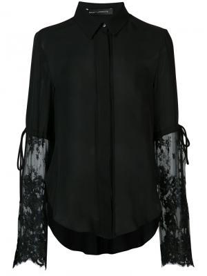 Блузка с кружевными рукавами Sally Lapointe. Цвет: чёрный