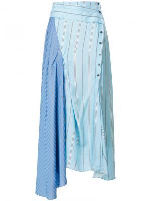 Расклешенная юбка с контрастными полосками 3.1 Phillip Lim. Цвет: синий