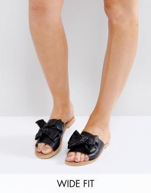 Park Lane Кожаные сандалии с большим бантом. Цвет: черный