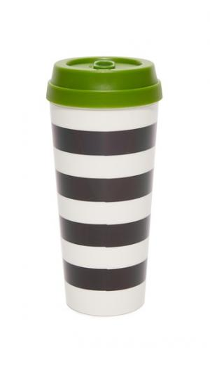 Термокружка в черную полоску Kate Spade New York. Цвет: черный/белый/зеленый