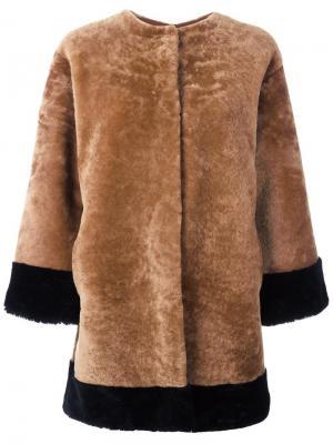 Куртка на пуговицах без воротника Daniela Pancheri. Цвет: коричневый
