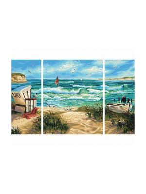 Триптих Летний отпуск, 50х80 см, 1/6 Schipper. Цвет: голубой