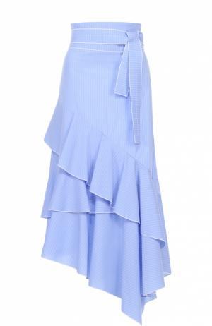Юбка-макси асимметричного кроя с завышенной талией и поясом Aquilano Rimondi. Цвет: голубой