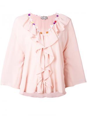 Блузка с отделкой оборками Paul & Joe. Цвет: розовый и фиолетовый