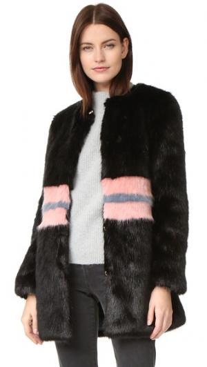 Пальто Frederica из искусственного меха Shrimps. Цвет: черный/розовый/серый