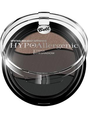 Тени для век трио гипоаллергенные Bell Hypoallergenic , Тон 12. Цвет: темно-коричневый, темно-серый, черный