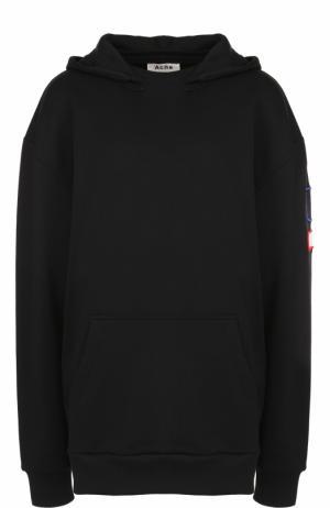 Хлопковая толстовка с капюшоном и принтом на спинке Acne Studios. Цвет: черный