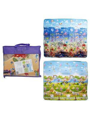 Коврик игровой для малышей EPE большой 2M*1.8M*0,5CM в сумке, двустор, рис: море и животные 1Toy. Цвет: прозрачный