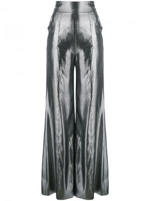 Брюки-палаццо с завышенной талией Wanda Nylon. Цвет: металлический