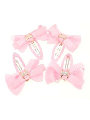 Бантики на заколке, в крупный горох, светло-розовые, 4 шт Радужки. Цвет: бледно-розовый