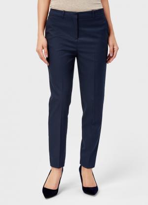 Прямые брюки в «ломаную клетку» OSTIN. Цвет: темно-синий
