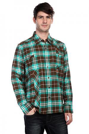 Рубашка в клетку  Mersey Brown Innes. Цвет: зеленый,коричневый