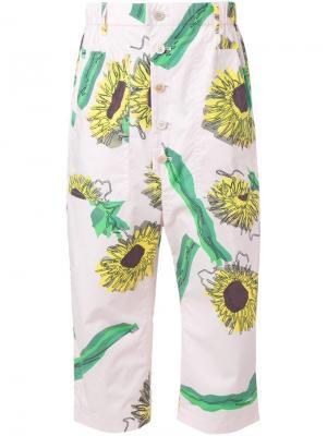 Укороченные брюки с подсолнухами Julien David. Цвет: розовый и фиолетовый