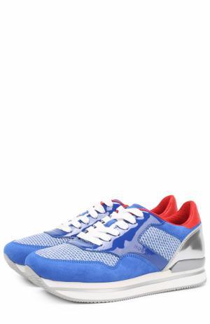 Комбинированные кроссовки на шнуровке Hogan. Цвет: синий