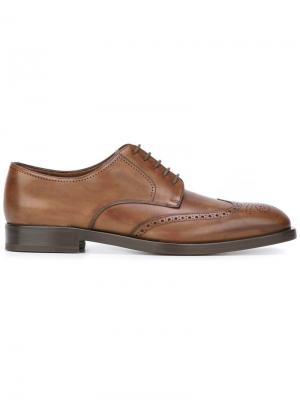 Туфли дерби с перфорацией Fratelli Rossetti. Цвет: коричневый