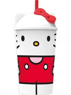 Стакан пластиковый с соломинкой и крышкой (400 мл). Hello Kitty Stor. Цвет: розовый