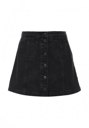 Юбка джинсовая Topshop. Цвет: черный