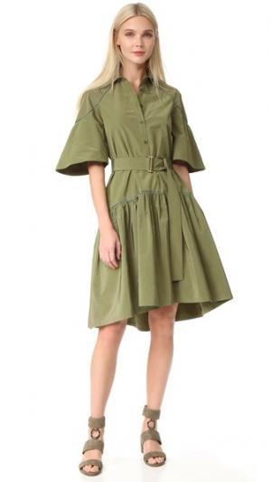 Платье-рубашка Lela Rose. Цвет: мох