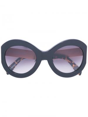 Солнцезащитные очки в объемной оправе Zanzan. Цвет: чёрный