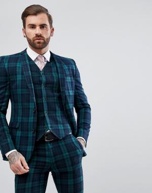 ASOS Приталенный пиджак в шотландскую клетку. Цвет: зеленый