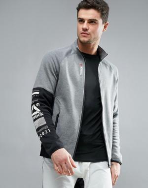 Reebok Спортивная хлопковая куртка One Series Quick. Цвет: серый