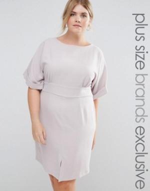 Closet Plus Платье миди с рукавами-кимоно, завязкой сзади и разрезом спереди Close. Цвет: серый