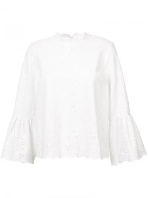 Блузка с расклешенными рукавами Ulla Johnson. Цвет: белый