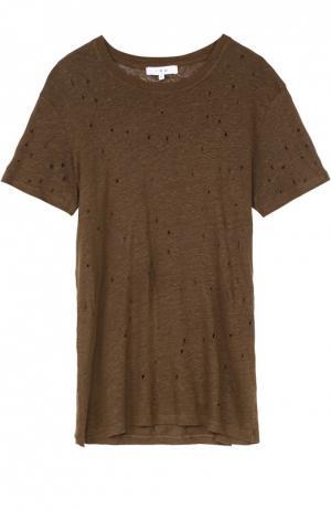 Льняная футболка прямого кроя с перфорацией Iro. Цвет: хаки