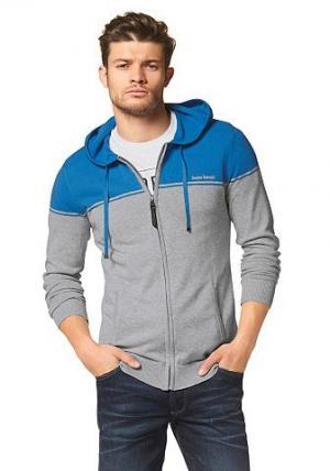 Трикотажная куртка с капюшоном Bruno Banani. Цвет: серый + синий + меланж
