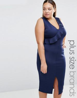 Praslin Платье-футляр с оборкой Plus. Цвет: темно-синий