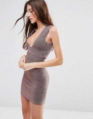 Hedonia Облегающее платье без рукавов с люрексом и блестками. Цвет: коричневый