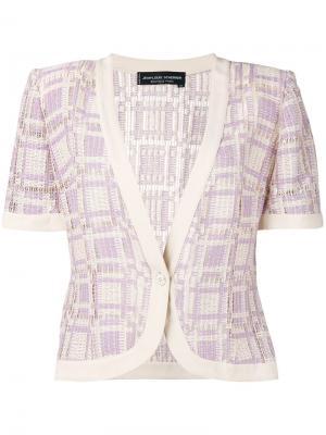 Трикотажный пиджак в клетку Jean Louis Scherrer Vintage. Цвет: телесный