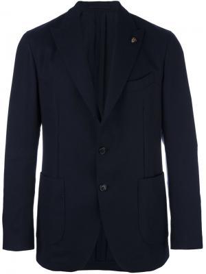 Пиджак на три пуговицы Gabriele Pasini. Цвет: синий
