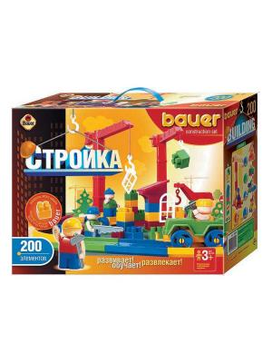 Конструктор Bauer серии Стройка 200 эл. (в коробке) 8/8. Цвет: оранжевый