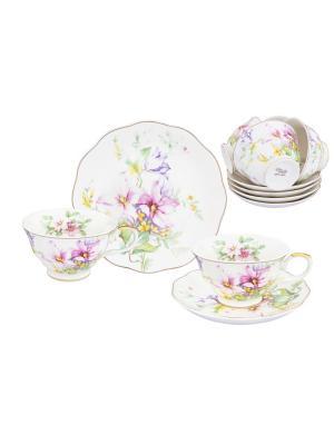 Чайный набор Нежные цветы Elan Gallery. Цвет: розовый, желтый, зеленый