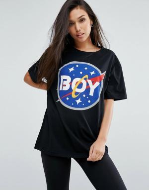 BOY London Футболка с космическим принтом и логотипом. Цвет: черный