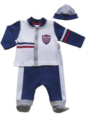 Комплект (Ползунки на широкой резинке+кофточка+шапочка), Спортивная Академия Soni kids. Цвет: белый