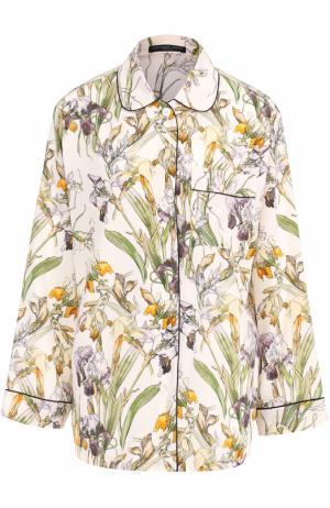 Шелковая блуза с пижамном стиле принтом Alexander McQueen. Цвет: разноцветный