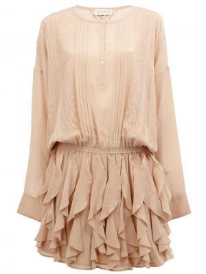 Платье с оборками Faith Connexion. Цвет: телесный