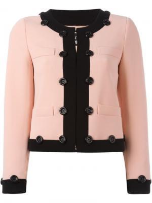 Укороченные пиджак с контрастной окантовкой Boutique Moschino. Цвет: розовый и фиолетовый